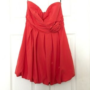 Coral Strapless Mini Dress with Flower